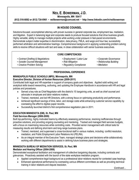 experienced attorney resume sles corporate attorney resume resume ideas
