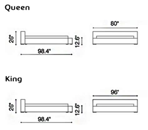 what s the measurements of a queen size bed epsilon platform bed