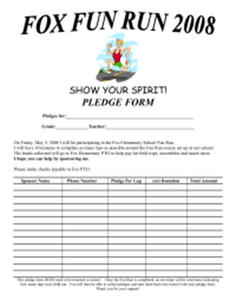 caign pledge card template pledge sheets pto today