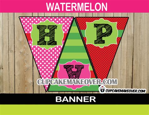 printable watermelon banner watermelon birthday party package instant download