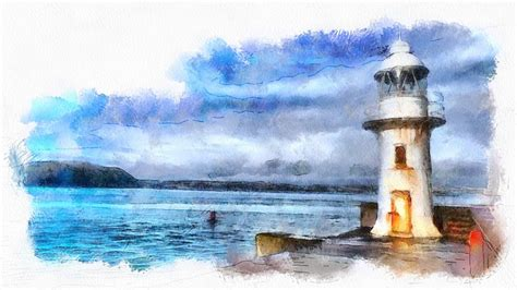 illustration brixham lighthouse seaside