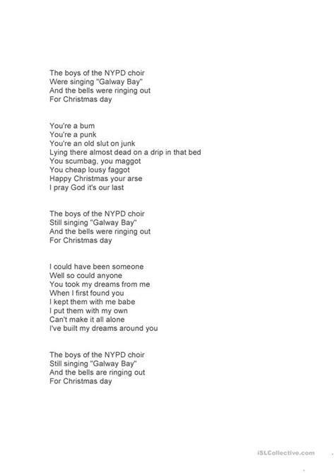 christmas song 'Fairytale of New York' listening reading