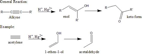 hydration keto organic chemistry introduction to reactions alkyne