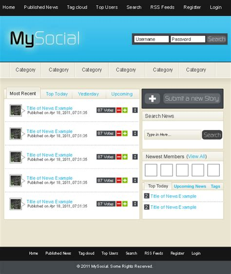 Layout Social Network | make the first rectangle a