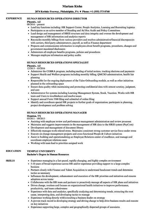 human resources operations resume sles velvet