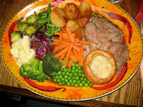 roast dinners traditional sunday roast yorkshire puddings england uk too much on plate