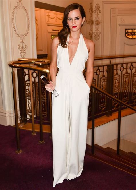 Emma Watson Jumpsuit | emma watson goes for the plunge in sexy white jumpsuit
