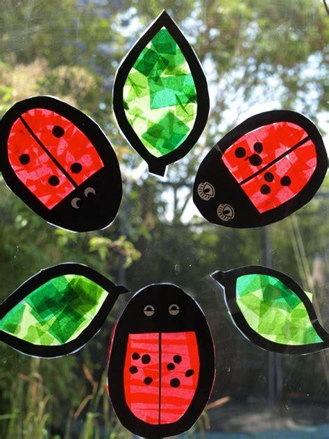 Tissue Paper Suncatcher Craft - ladybug suncatchers family crafts