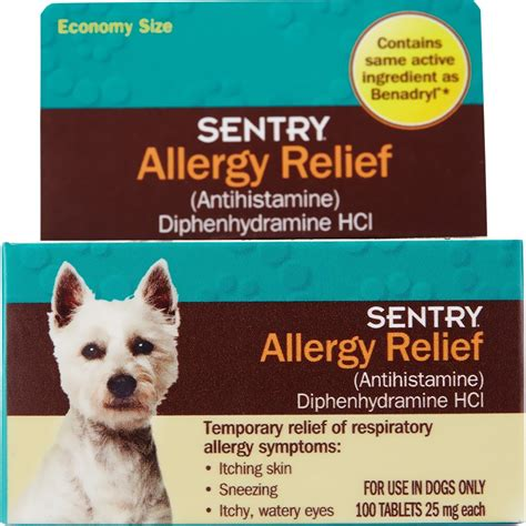 reliever for dogs sentry 174 allergy relief tabs for dogs 100 count entirelypets