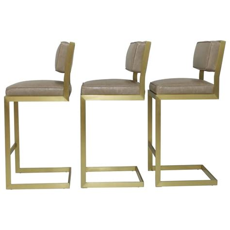 brass bar stools set of three brushed brass bar height barstools in leather