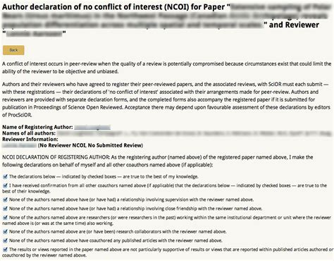 conflict of interest declaration template science open reviewed