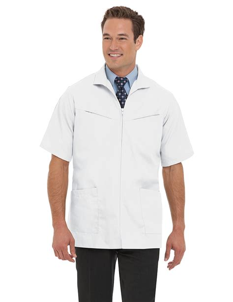 barber smocks landau men s white professional lab solid scrub jacket