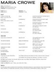 Exle Of Actors Resume by Actor Resume Template Getessay Biz