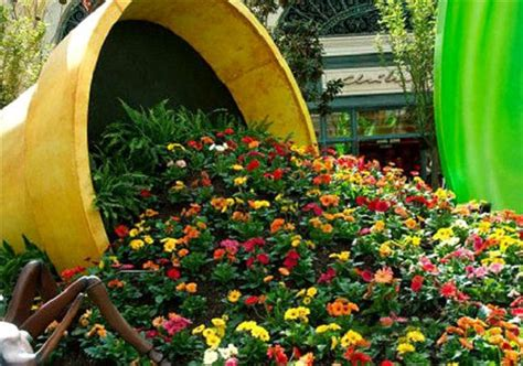 flower pot garden make a spilled flower pot garden design idea