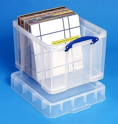 vinyl record storage containers 38 ltr lp transparent really useful plastic storage box
