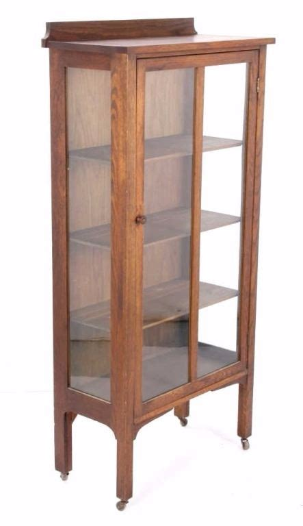 Oak Mission Style Curio Cabinet C 1910 Mission Style Curio Cabinet