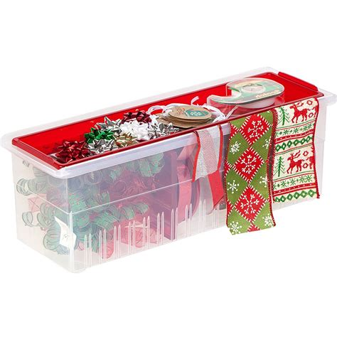 Ribbon Shelf Organizer by Plastic Ribbon Box And Dispenser In Gift Wrap Organizers