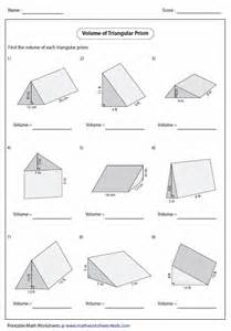 volume triangular prism worksheet worksheets for