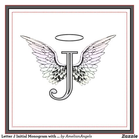 tattoo lettering with angel wings letter j initial monogram with angel wings halo tile