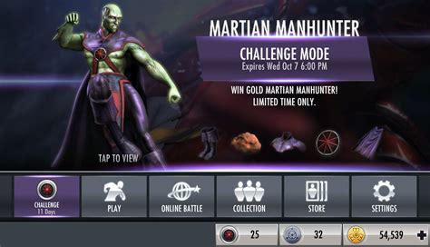 injustice gods among us ios challenge injustice gods among us mobile martian manhunter challenge