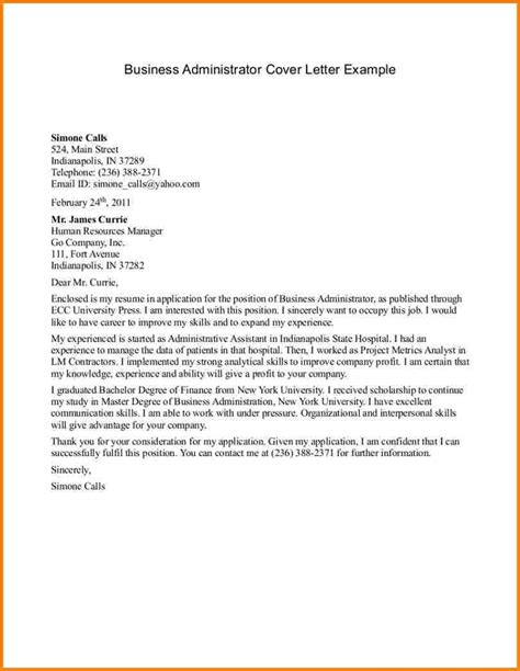 administrator cover letter exles cover letter for business administration the letter sle