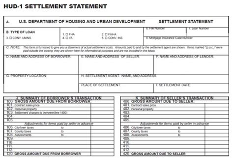 sle of hud 1 settlement statement what details are included in a hud 1 settlement statement