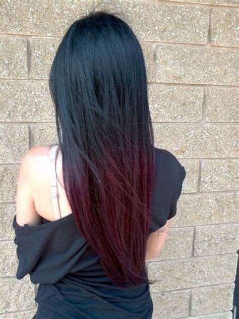 straight hair with black and brown at bottom ciemne ombre fryzury galeria