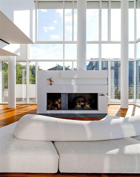 island fireplace island house by richard meier