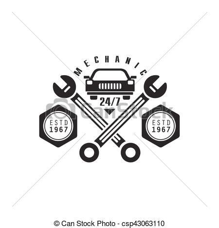 werkstatt vektor reparatur design auto etikett werkstatt schwarz