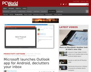outlook app for android pc world microsoft launches outlook app for android declutters your inbox pcworld