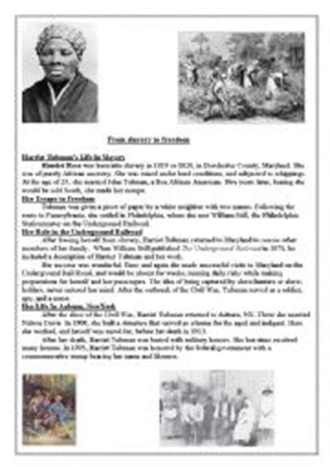 harriet tubman biography and questions english worksheet harriet tubman