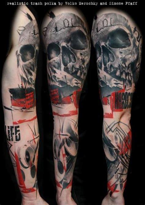 arm skull trash polka tattoo by buena vista tattoo club