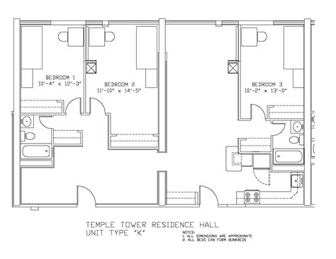 temple floor plan temple towers university housing and residential life