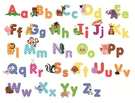 wall stickers alphabet letters animal alphabet wall decals and educational letters