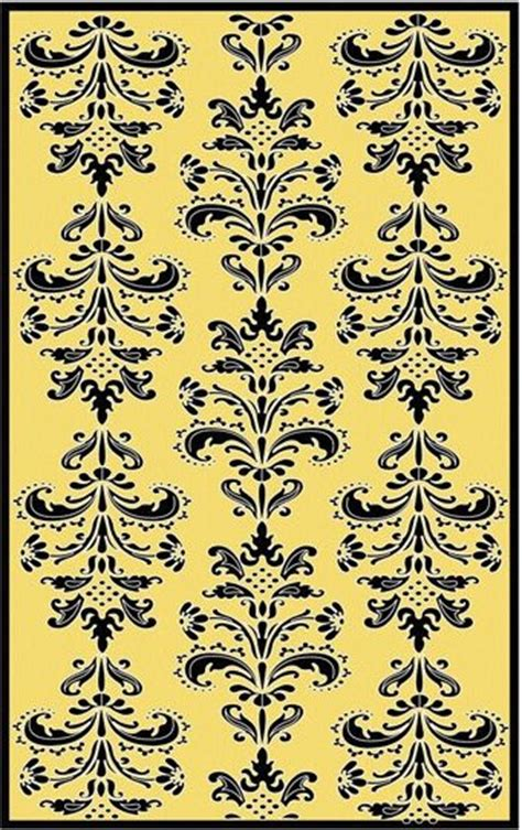 Black And Yellow Area Rugs black and yellow mini damask area rug the frog and the