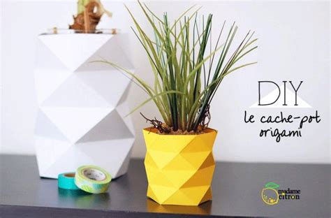 Origami Flower Pot - how to decorate pots with paper origami paper origami guide