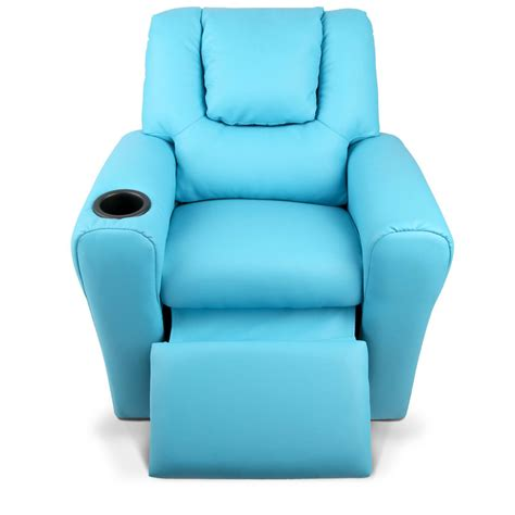 infant recliner chair kids padded pu leather recliner chair blue afterpay
