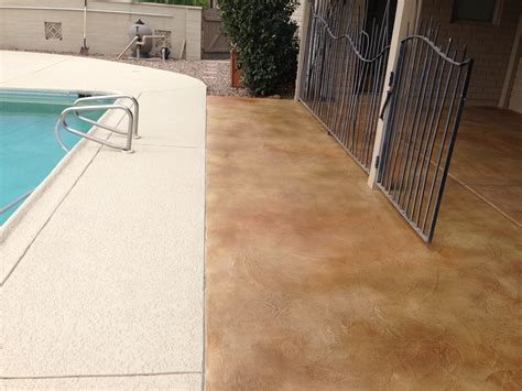 stained concrete patio overlay installation and pool deck