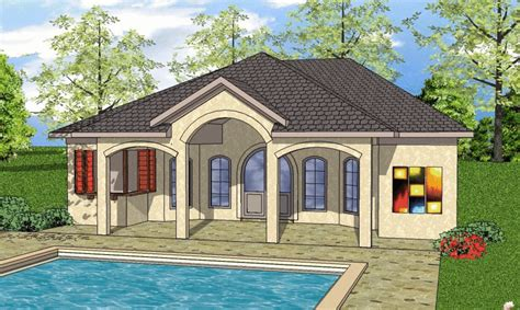 Pool House Plans With Bedroom Mediterranean Style House Plan 1 Beds 2 Baths 723 Sq Ft Plan 8 156