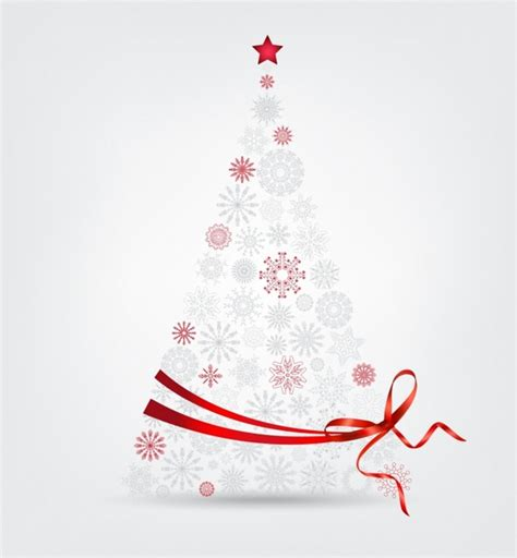 christmas tree made from snowflakes and ribbon free vector