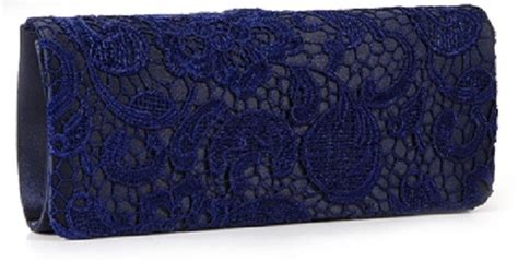 Tas Pesta Lace Navy Blue navy lace special occasion clutch bag wedding shoes by