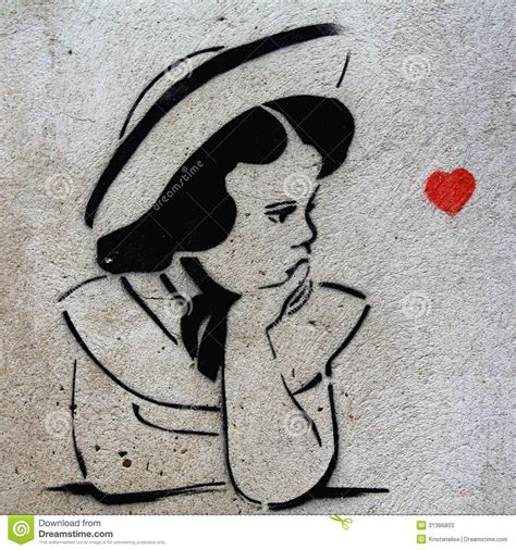 stencil graffiti girl prague editorial stock photo