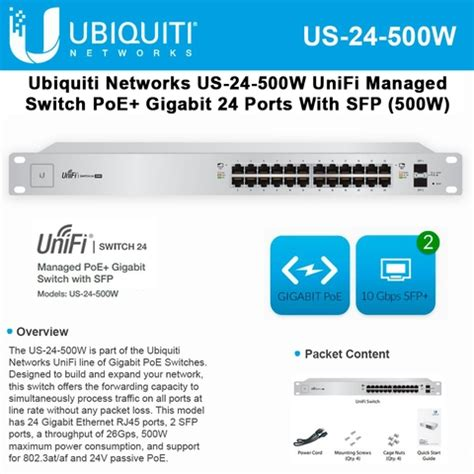 Ubiquity Unifi Switch 24port 500w Us 24 500w ubiquiti networks us 24 500w unifi managed poe gigabit 24 rj45 port 500w switch with sfp ports
