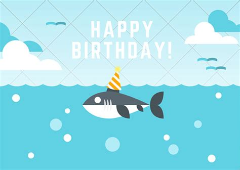 baby shark happy birthday cute shark with party hat birthday card templates by canva