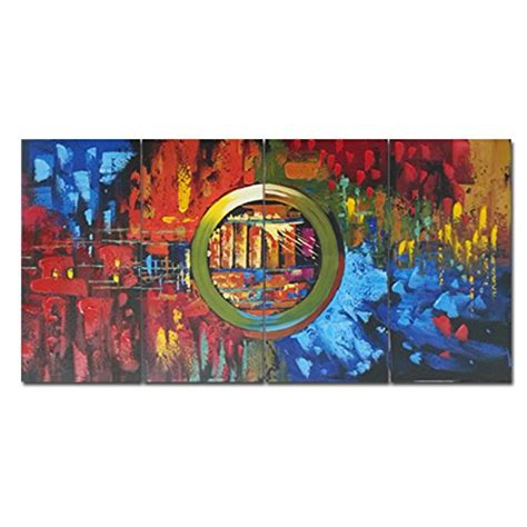 wieco art cityscape extra large colorful city 100 hand 60 off wieco art extra large modern 4 panels 100 hand