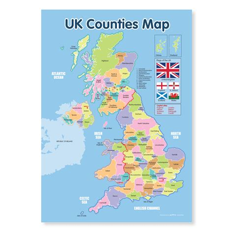 a map of counties a3 uk counties map education poster funky monkey house