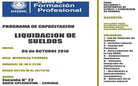 sueldo de administrativa de utedyc en noviembre de 2016 capacitaci 243 n laboral en liquidaci 243 n de sueldos