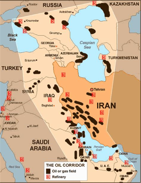 middle east resources map