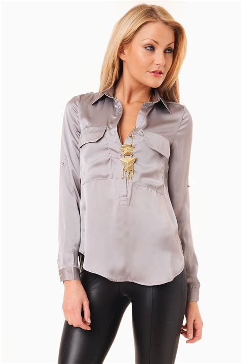 More Satin Looks by Maisy Satin Blouse In Silver