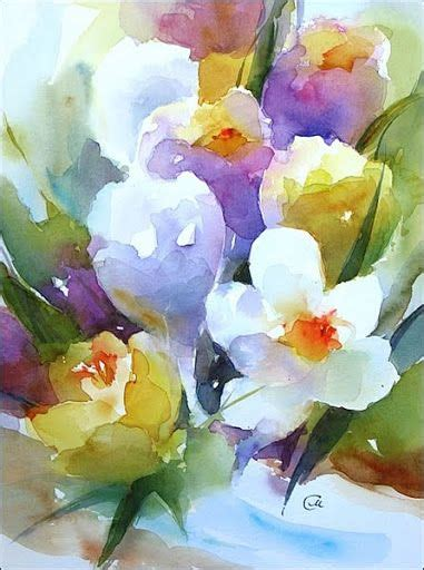 C 0225 Kaos Flowers In watercolors by stezhko акварели марии стежко